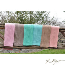 Load image into Gallery viewer, Cable Mix -Stone - Baby Blanket - 100% Cotton-Fussbudget.com