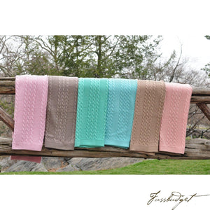 Cable Mix -Stone - Baby Blanket - 100% Cotton-Fussbudget.com