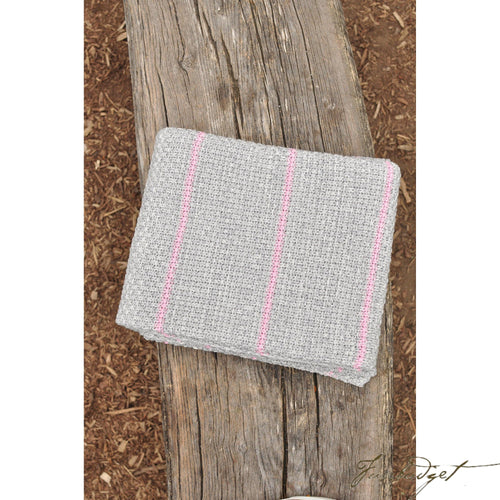 Double Moss Stitch - Luxury Cotton Throw Blanket - Mayra Collection - 100% Cotton - Pink and grey-Fussbudget.com