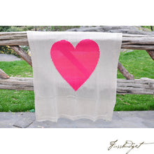 Load image into Gallery viewer, Baby Love - Cotton Baby Blanket - 100% cotton/knitted- Cream and Neon Red pink heart-Fussbudget.com