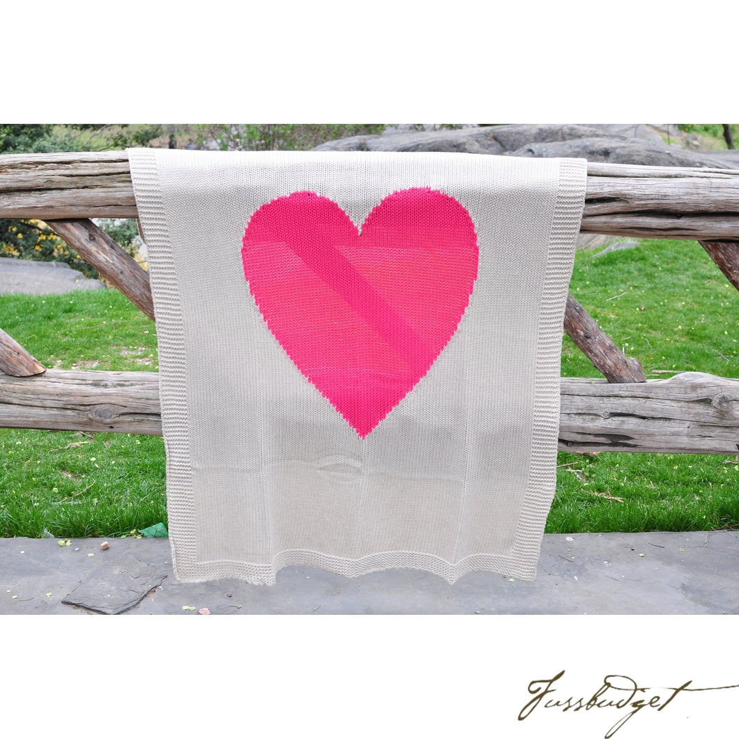 Baby Love - Cotton Baby Blanket - 100% cotton/knitted- Cream and Neon Red pink heart-Fussbudget.com