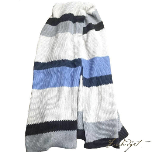 Moss Stitch Luxury Cotton Throw Blanket - Rayure Collection - 100% Cotton -Blue/White/Grey-Fussbudget.com