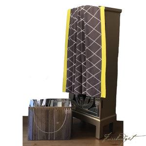 Cotton Throw Blanket - Modisch Collection - Cross - Chocolate Brown/yellow/Light grey/Ivory - 100% Cotton-Fussbudget.com
