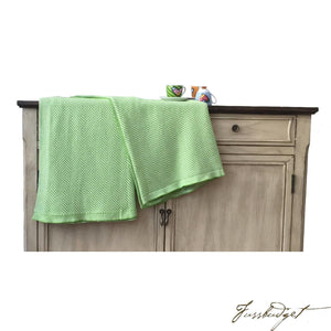 Cotton Throw Blanket - Zara Collection - Herringbone - Chille green-Fussbudget.com