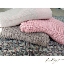 Load image into Gallery viewer, Cotton Throw Blanket - Zima Collection - Stone/Blush - 100% Cotton-Fussbudget.com