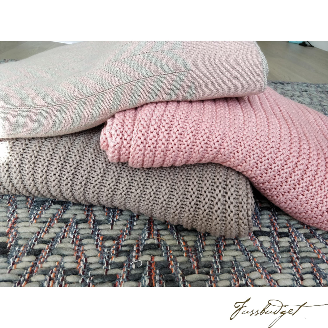 Cotton Throw Blanket - Zima Collection - Stone/Blush - 100% Cotton-Fussbudget.com