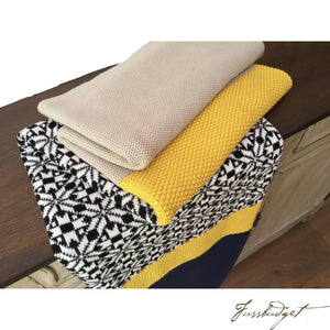 Cotton Throw Blanket - Elana Collection - Snowflakes - Navu/Yellow/Blue/Beige-Fussbudget.com