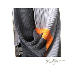 Load image into Gallery viewer, Cotton Throw Blanket - Citra Collection - Tri Color - Neon Strip - Dark grey/Neon orange/Light grey-Fussbudget.com