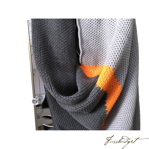 Cotton Throw Blanket - Citra Collection - Tri Color - Neon Strip - Dark grey/Neon orange/Light grey-Fussbudget.com