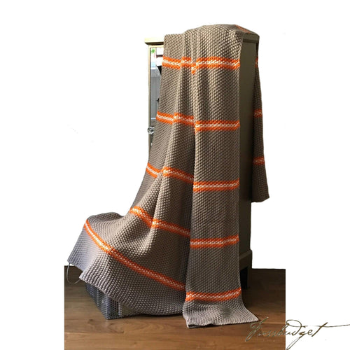 Cotton throw blanket - Fett Collection - Dark Beige/orange stripe-Fussbudget.com