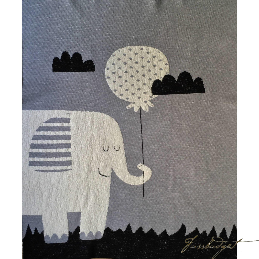 Elephant balloon -Animals - Baby Blanket - 100% Cotton - Grey/white-Fussbudget.com