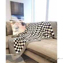 Load image into Gallery viewer, Checkered Throw - Sveda Collection - 100% Cotton -Black/White-Fussbudget.com