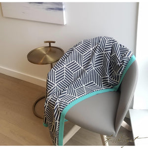Cotton Throw Blanket - Piazza Collection - Hexagon - Aqua border - Reversible throw - 100% Cotton-Fussbudget.com