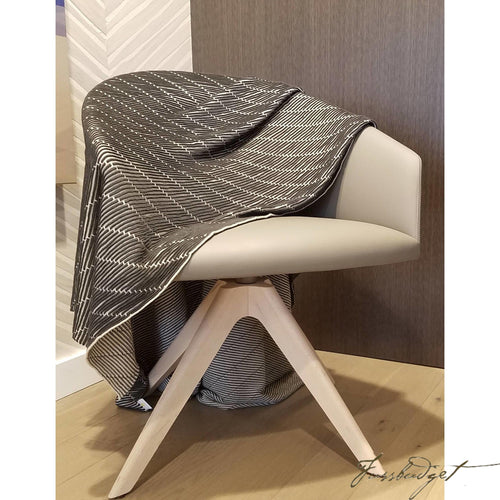 Cotton Throw Blanket - Linear Collection - Black-grey-Fussbudget.com