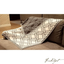 Load image into Gallery viewer, Cotton Throw Blanket - Sveda Collection - Bricks - Grey/White-Fussbudget.com