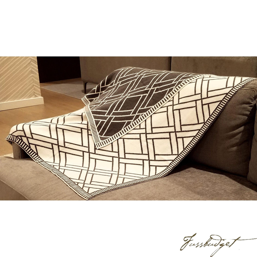 Cotton Throw Blanket - Sveda Collection - Bricks - Grey/White-Fussbudget.com