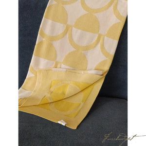 Half Moon - Sandra Collection - 100% Cotton -Yellow - knitted throw blanket-Fussbudget.com
