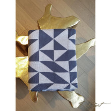 Load image into Gallery viewer, Luxury Cotton Throw Blanket - Sveda Collection - 100% Cotton - Shapes -blue - grey - geometric-Fussbudget.com