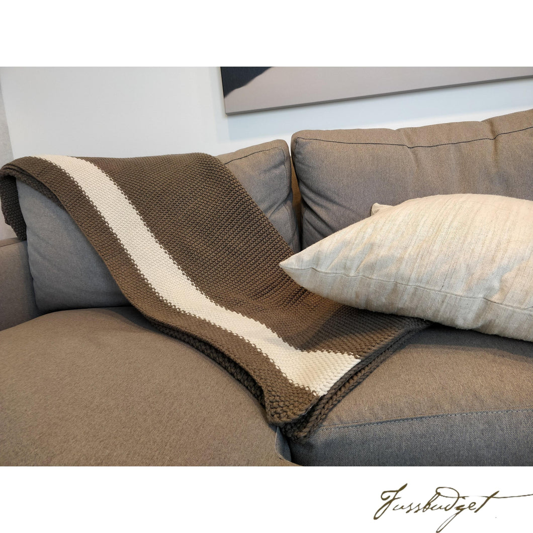 Cotton throw blanket - Marici Collection - Brown/Cream-Fussbudget.com