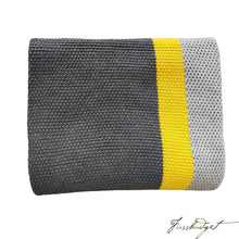 Load image into Gallery viewer, Cotton Throw Blanket - Citra Collection - Tri Color - Yellow Strip - Dark grey/yellow/Light grey-Fussbudget.com