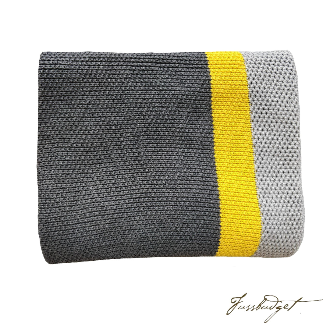 Cotton Throw Blanket - Citra Collection - Tri Color - Yellow Strip - Dark grey/yellow/Light grey-Fussbudget.com
