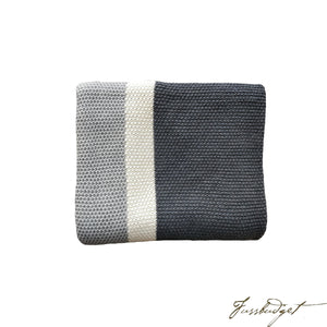 Cotton Throw Blanket - Citra Collection - Tri Color - Yellow Strip - Dark grey/Ivory/Light grey-Fussbudget.com