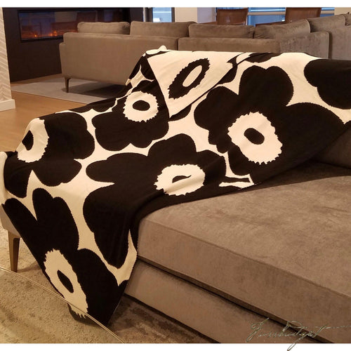Cotton Throw Blanket - Kaza Collection - Floral - black/white-Fussbudget.com