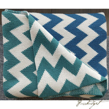 Load image into Gallery viewer, Zig Zag Collection - 100% Cotton - Aqua/Blue-Fussbudget.com