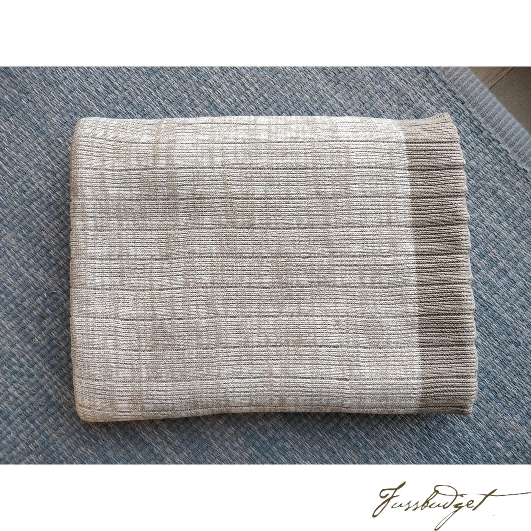 Cotton throw blanket - Aria Collection - Stone/Cream-Fussbudget.com
