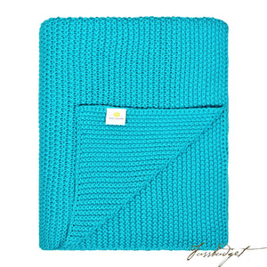 Cotton Throw Blanket - Varna Collection - Bright/Beach/Blue-Fussbudget.com