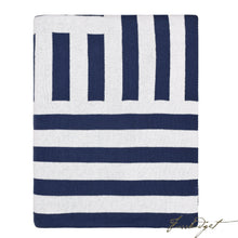 Load image into Gallery viewer, Cotton Throw Blanket - Beach Collection -Navy/white/ - 100% Cotton-Fussbudget.com