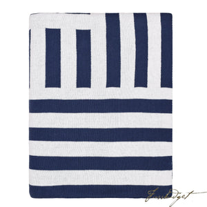 Cotton Throw Blanket - Beach Collection -Navy/white/ - 100% Cotton-Fussbudget.com