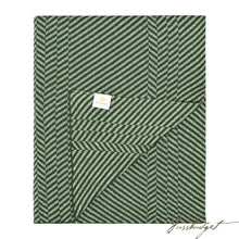 Load image into Gallery viewer, Cotton Throw Blanket - Grindle Collection -Chevron green- 100% Cotton-Fussbudget.com