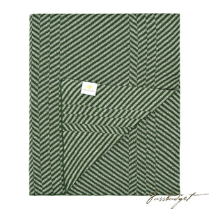 Cotton Throw Blanket - Grindle Collection -Chevron green- 100% Cotton-Fussbudget.com