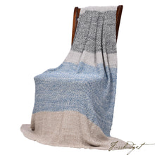 Load image into Gallery viewer, Moss Stitch Luxury Cotton Throw Blanket - Vena Collection - 100% Cotton - Grey and blue-Fussbudget.com