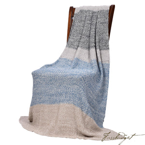 Moss Stitch Luxury Cotton Throw Blanket - Vena Collection - 100% Cotton - Grey and blue-Fussbudget.com