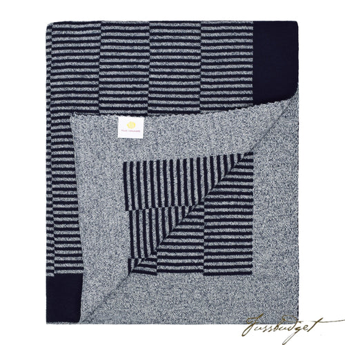 Cotton Throw Blanket - Grindle Collection -Dash - Navy- 100% Cotton-Fussbudget.com