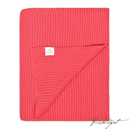 Cotton Throw Blanket - Varna Collection - Red/Pink-Fussbudget.com