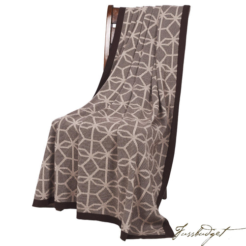 Cotton Throw Blanket - Daza Collection - Hexagon Mix - Chocolate brown - 100% Cotton-Fussbudget.com