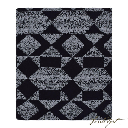 Cotton Throw Blanket - Daza Collection - Shapes multi - Black/grey - 100% Cotton-Fussbudget.com