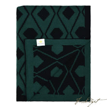 Load image into Gallery viewer, Cotton Throw Blanket - Daza Collection - Triangles - Black/green - 100% Cotton-Fussbudget.com