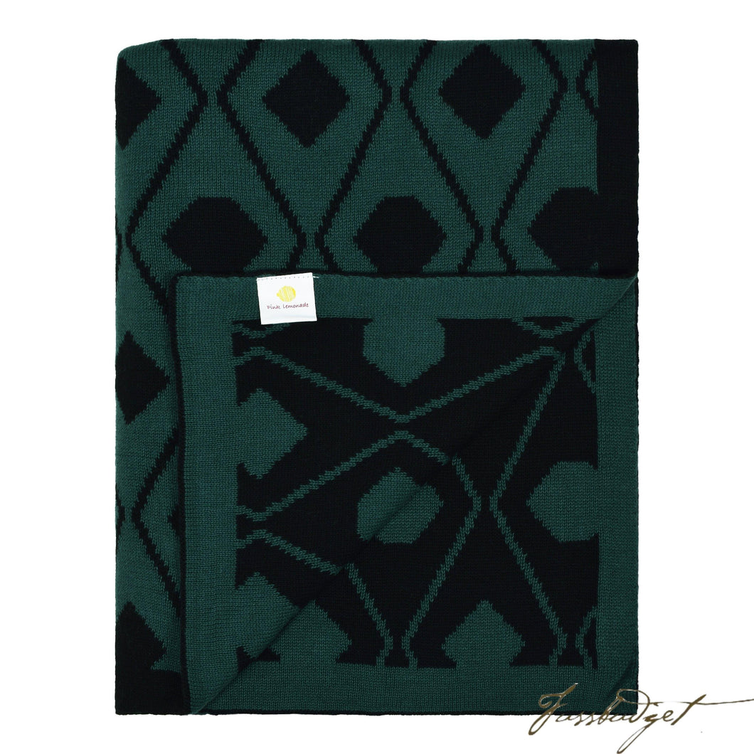 Cotton Throw Blanket - Daza Collection - Triangles - Black/green - 100% Cotton-Fussbudget.com