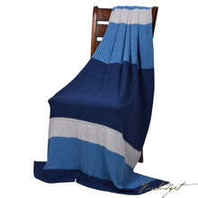 Load image into Gallery viewer, Moss Stitch Luxury Cotton Throw Blanket - Rayure Collection - 100% Cotton -Blue/Grey Mix-Fussbudget.com