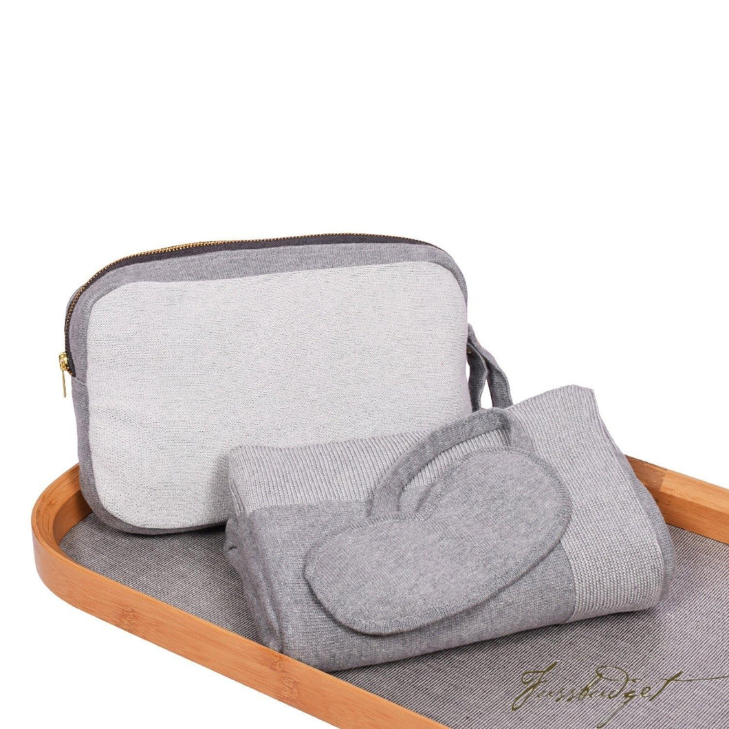 Reversible Solid - Travel Blanket Set - Lt grey/Natural - 100% Cotton-Fussbudget.com