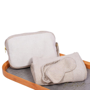 Reversible Solid - Travel Blanket Set - Lt beige mel/Ivory- 100% Cotton-Fussbudget.com