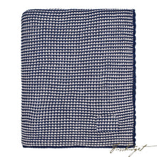 Load image into Gallery viewer, Cotton Throw Blanket - Zreyas Collection - Navy/pale Whisper-Fussbudget.com