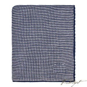 Cotton Throw Blanket - Zreyas Collection - Navy/pale Whisper-Fussbudget.com