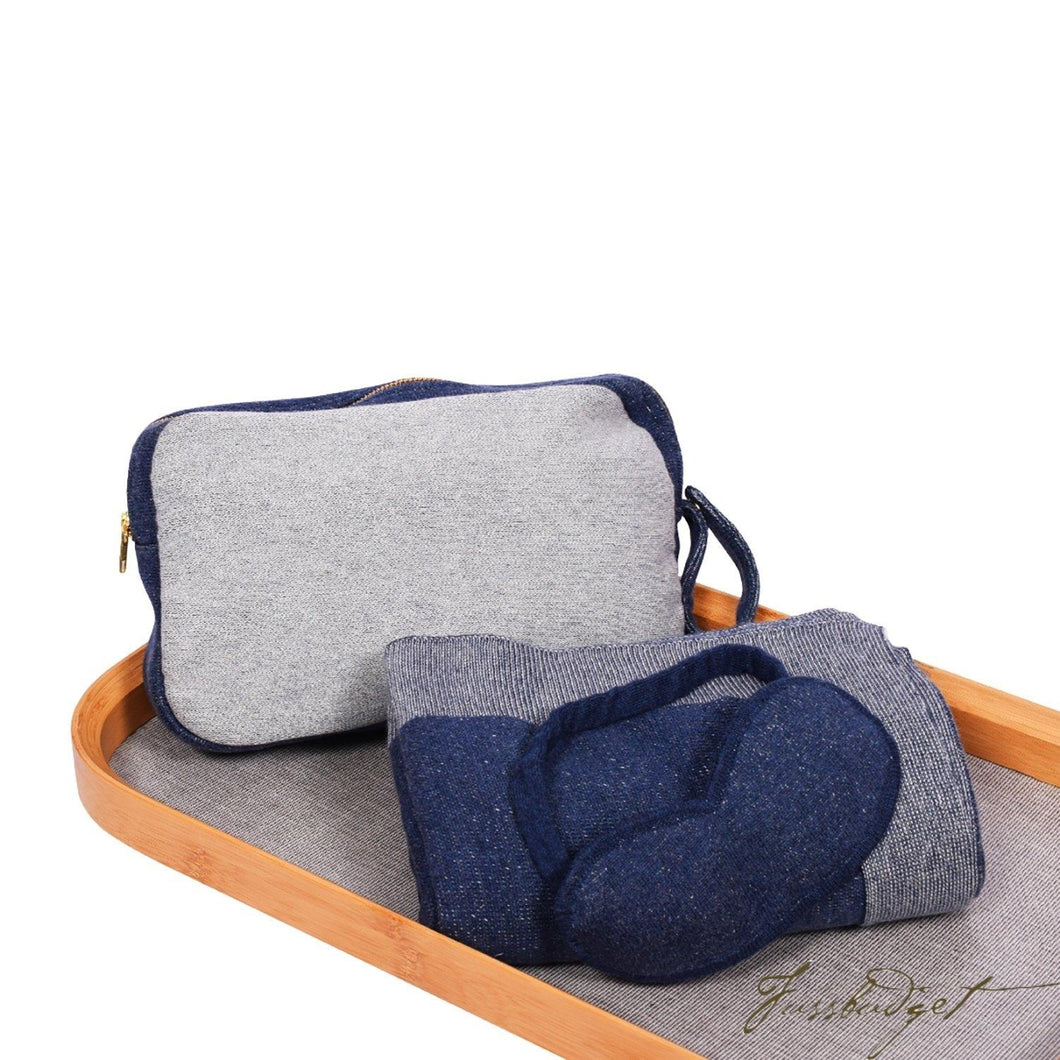 Reversible Solid - Travel Blanket Set -Navyl/Vanilla grey mel- 100% Cotton-Fussbudget.com