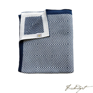 Cotton Throw Blanket - Piazza Collection - Navy/Ivory-Fussbudget.com