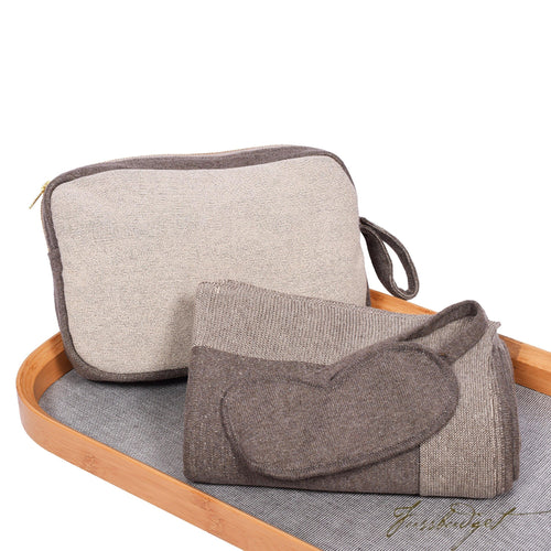 Reversible Solid - Travel Blanket Set -Dk brown Mel/Oat- 100% Cotton-Fussbudget.com